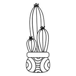 Kaktus Topf Silhouette Zeichnung