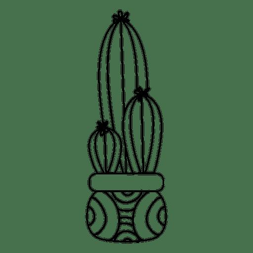Desenho de silhueta de pote de cacto Transparent PNG