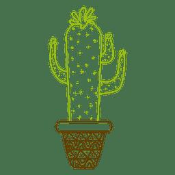 Pote de cactus dibujado mano colorida silueta