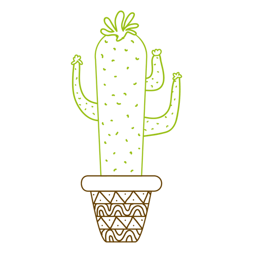 Colorful silhouette hand drawn cactus pot Transparent PNG