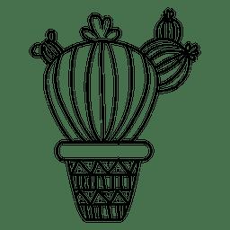 Silhueta de pote de cacto gordo