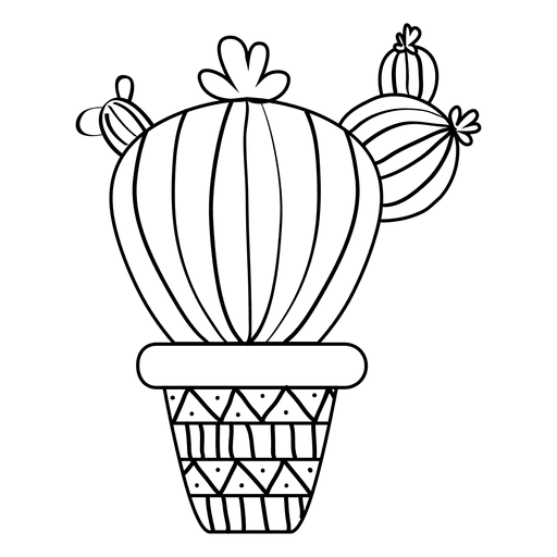 Fat cactus pot silhouette Transparent PNG