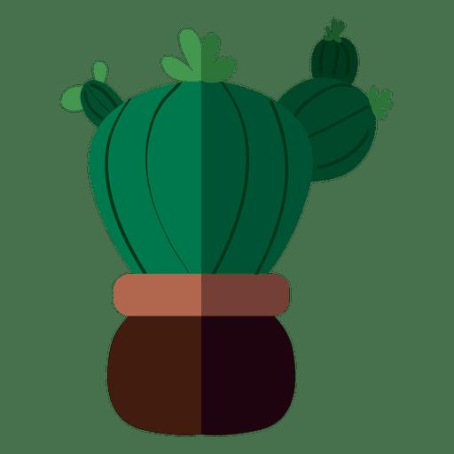 Fat flat cactus pot drawing Transparent PNG