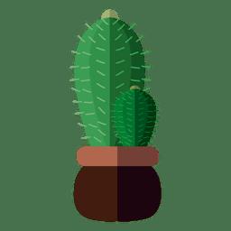 Flache 2-Kaktus-Topfzeichnung