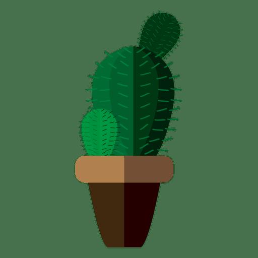 Desenho de pote de cacto arredondado plana Transparent PNG