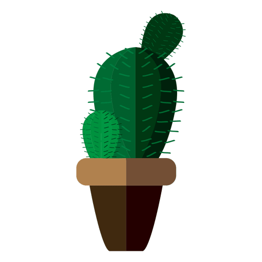 Flat rounded cactus pot drawing Transparent PNG