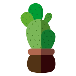 Ilustración de maceta de cactus redondeada plana