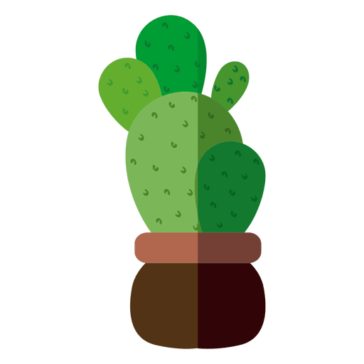 Flat rounded cactus pot illustration png