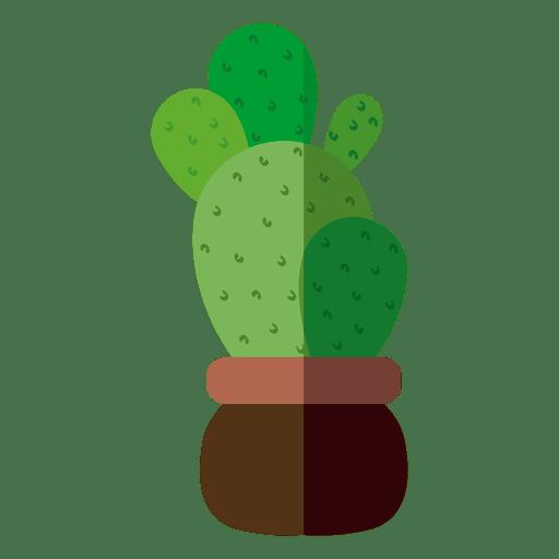 Flat rounded cactus pot illustration Transparent PNG