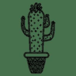 Silhueta de pote de cacto engraçado