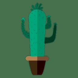 dibujo divertido olla plana de cactus