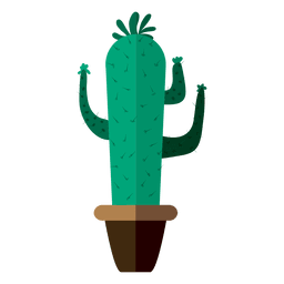 Funny flat cactus pot drawing