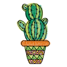Hand drawn colorful multiple cactus pot
