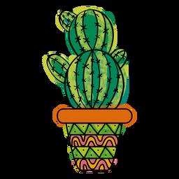 Pote de cacto múltiplo colorido mão desenhada
