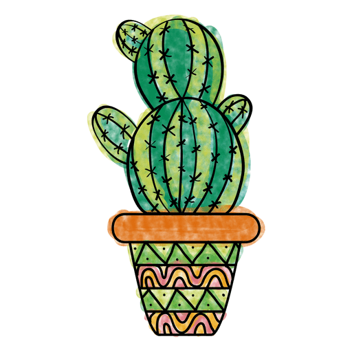 Dibujado a mano colorido maceta de cactus múltiples