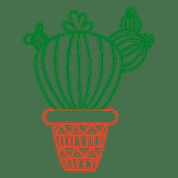 Cactus dibujado a mano en verde y rojo