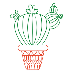 Hand drawn cactus in green and red