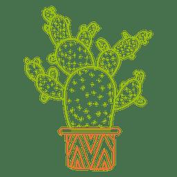 Dibujado a mano acuarela silueta de cactus