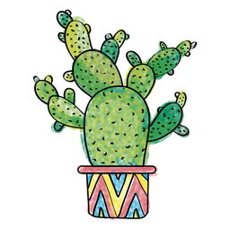 Hand drawn watercolor multiple cactus