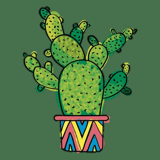 Dibujado a mano acuarela múltiples cactus