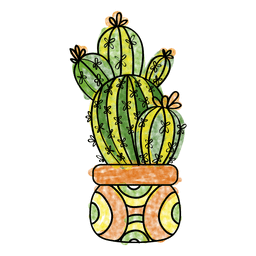 Hand drawn watercolor cactus plant pot