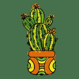 Mão, desenhado, watercolor, cacto, planta, pote