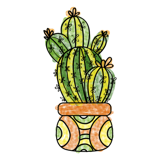 Hand drawn watercolor cactus plant pot  Transparent PNG