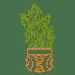 Cacto múltiplo ornamentado silhueta cor