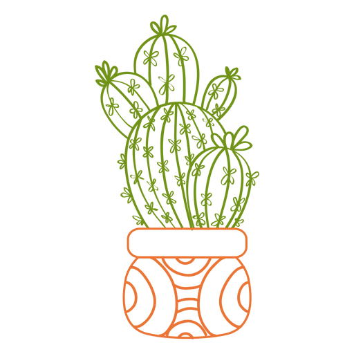 Multiple cactus ornamented color silhouette png