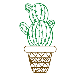 Multiple cactus ornamented color silhouette