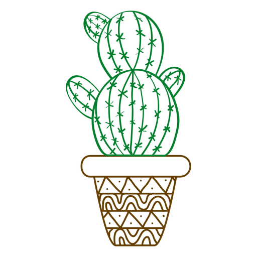 Cactus ornamented silhouette Transparent PNG