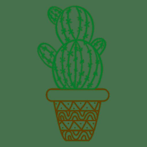 Silhueta ornamentada de cacto Transparent PNG