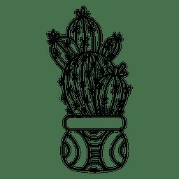 Pote de cactus múltiple dibujo silueta