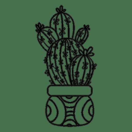 Silhueta de desenho de pote de cacto múltiplo Transparent PNG