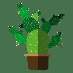 Dibujo de maceta plana de cactus múltiples