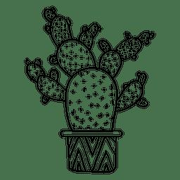 Silueta de maceta plana de cactus múltiples