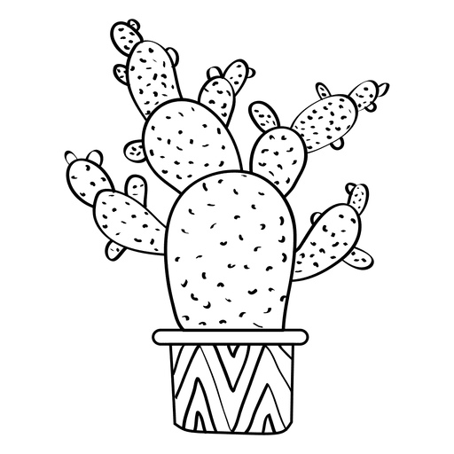Multiple flat cactus pot silhouette Transparent PNG