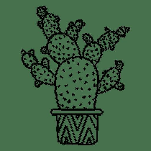 Multiple flat cactus pot silhouette png