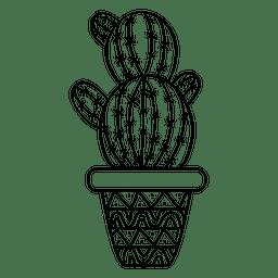 Silhueta de pote de cacto arredondado ornamentada