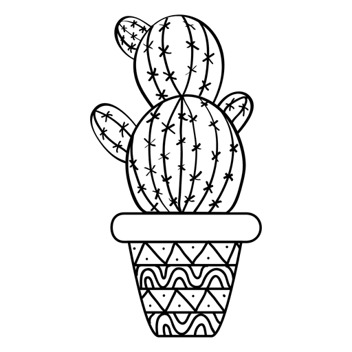 Rounded cactus pot ornamented silhouette Transparent PNG