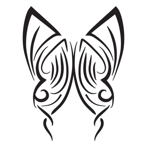 Tribal butterfly pinstripes stroke Transparent PNG