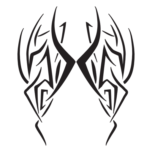 Tribal pinstripes stroke wings Transparent PNG