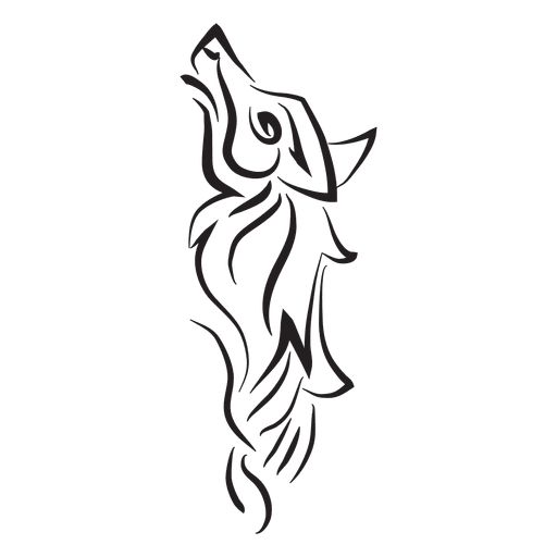 Tribal wolf pinstripe Transparent PNG