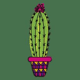 Watercolor cactus pot ornamented silhouette