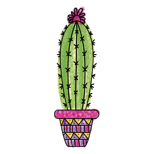 Watercolor cactus pot ornamented silhouette png