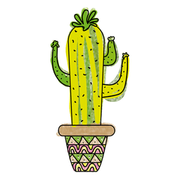 Colorful hand drawn cactus pot
