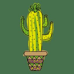 pote de cactus dibujado a mano colorido