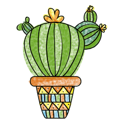 Hand drawn watercolor cactus pot
