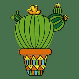 Hand drawn watercolor multiple cactus pot