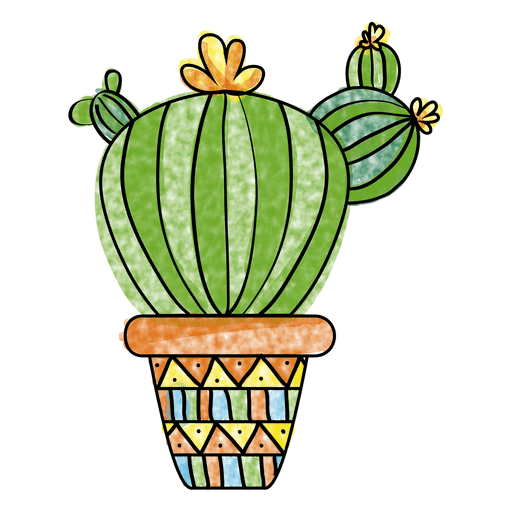 Hand drawn watercolor cactus pot png